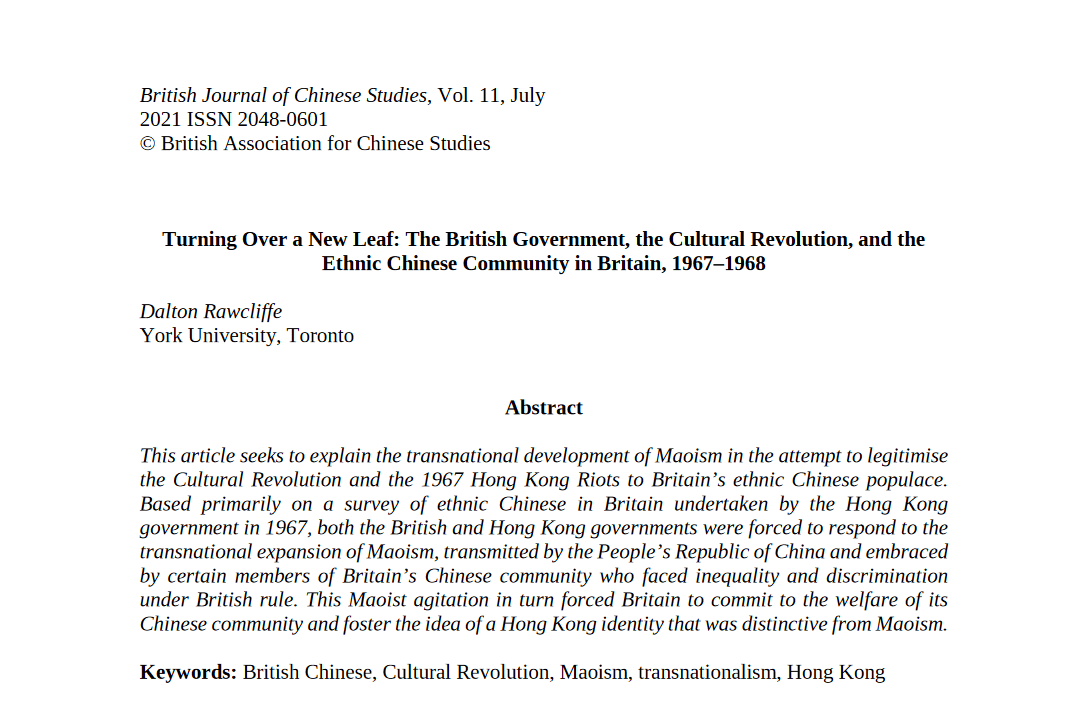 Turning Over a New Leaf: The British Government, the Cultural Revolution, and the Ethnic Chinese Community in Britain, 1967–1968